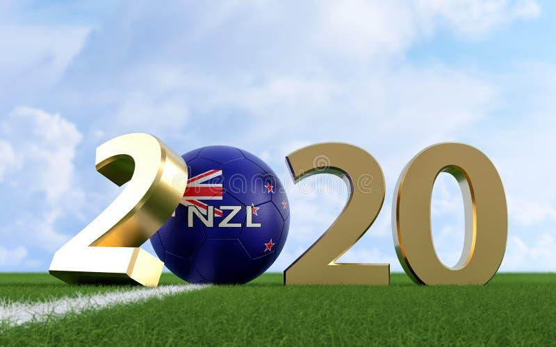 Soccer 2020 - Soccer ball in New Zealand flag design on a soccer field. Soccer ball representing the 0 in 2020. vector illustration