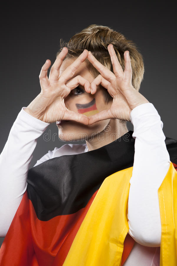 Soccer Sport Fan Supporter Germany with heart royalty free stock photos