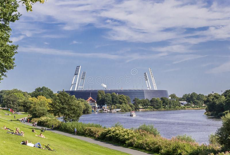 Soccer stadium along the river Weser in Bremen stock images