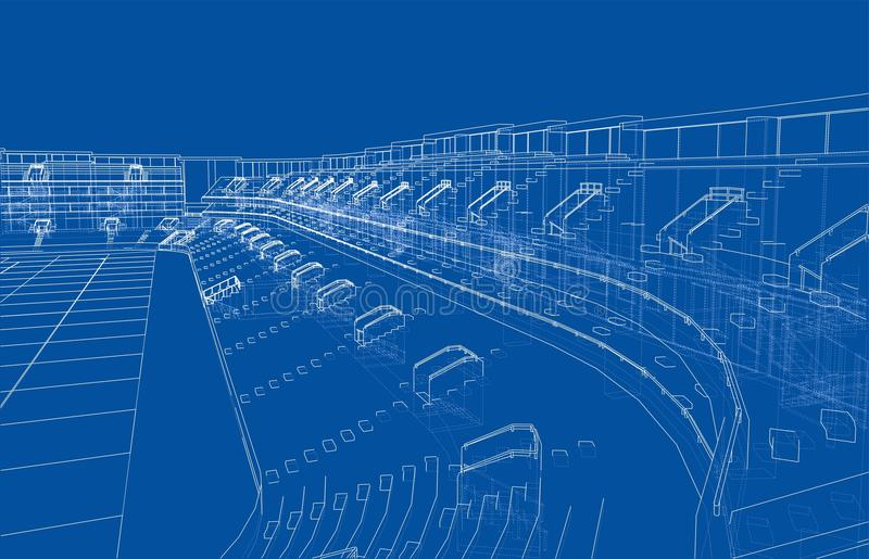 Soccer Stadium or Football Arena Concept. Vector. Rendering of 3d. Wire-frame style. The layers of visible and invisible lines are separated vector illustration