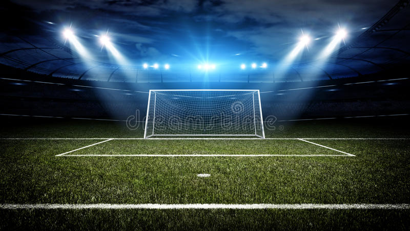 Soccer stadium and goal post. The imaginary soccer stadium and goal post are modelled and rendered royalty free illustration