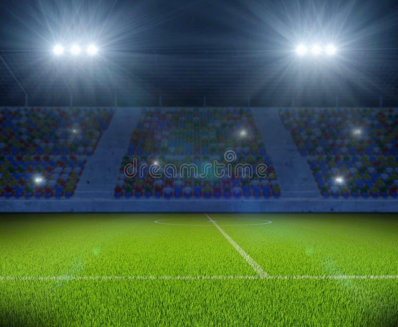 Soccer Stadium with Green Grass Field Background. Soccer Stadium with Green Grass Field with Bright Floodlight Background. Football Backdrop. 3D Illustration vector illustration