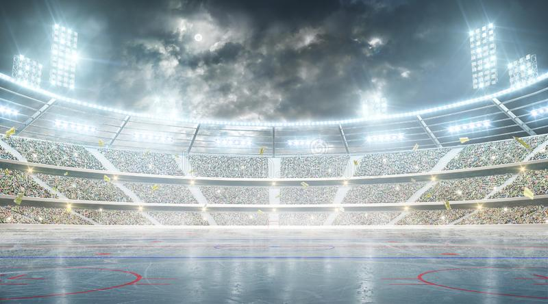 Hockey stadium. Ice hockey arena. Night stadium under the moon with lights, fans and flags stock illustration