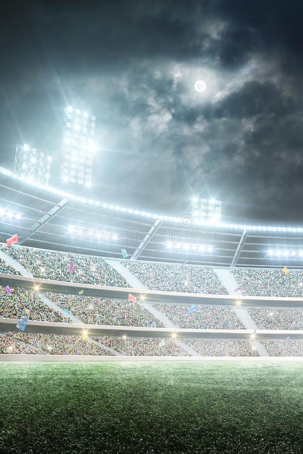 Soccer stadium. Professional sport arena. Night stadium under the moon with lights, fans and flags. Vertical background royalty free stock photos