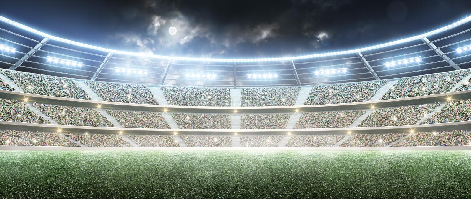 Soccer stadium. Professional sport arena. Night stadium under the moon with lights. Panorama. Soccer stadium. Professional sport arena. Night stadium under the royalty free stock image