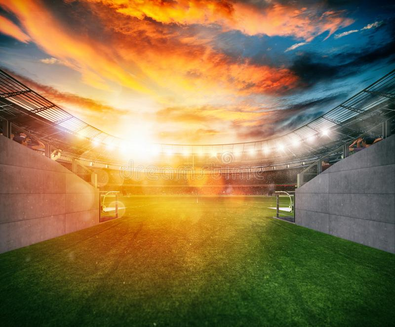 Soccer stadium seen by the exit of the locker room tunnel stock images