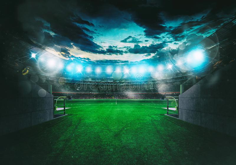Soccer stadium seen by the exit of the locker room tunnel royalty free stock images