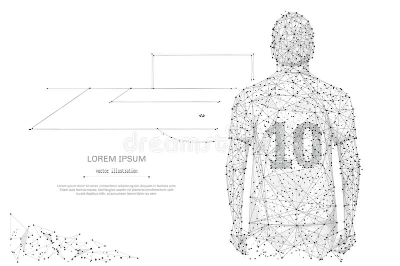 Soccer star low poly gray. Soccer star Abstract mash line and point on background with an inscription. Starry sky or space, consisting of stars and the universe stock illustration