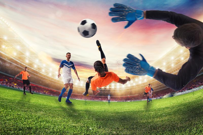 Soccer striker hits the ball with an acrobatic bicycle kick. 3D Rendering royalty free stock photography