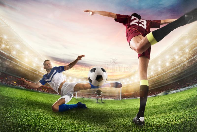 Soccer striker hits the ball with an acrobatic kick. 3D Rendering stock photo