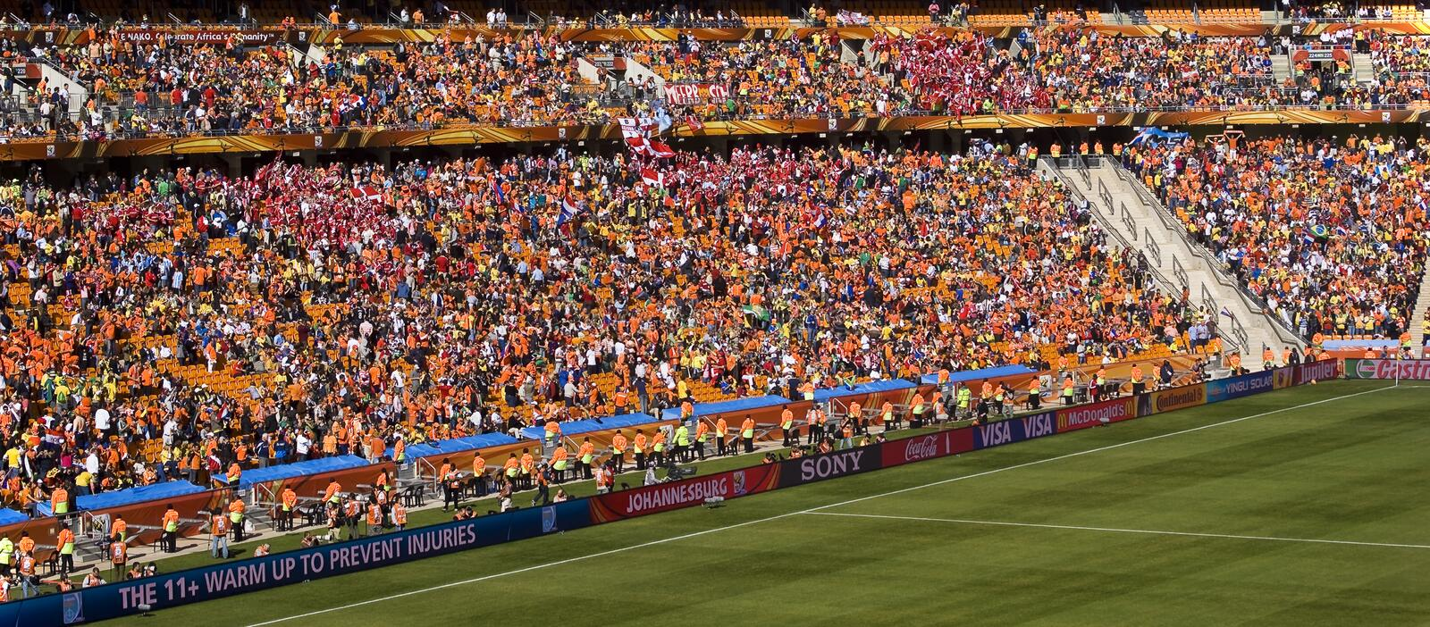 Soccer Supporters at Soccer City - FIFA WC. Soccer Supporters at Soccer City - panoramic. They came in their tens of thousands. Soccer City Stadium, Soweto stock photos