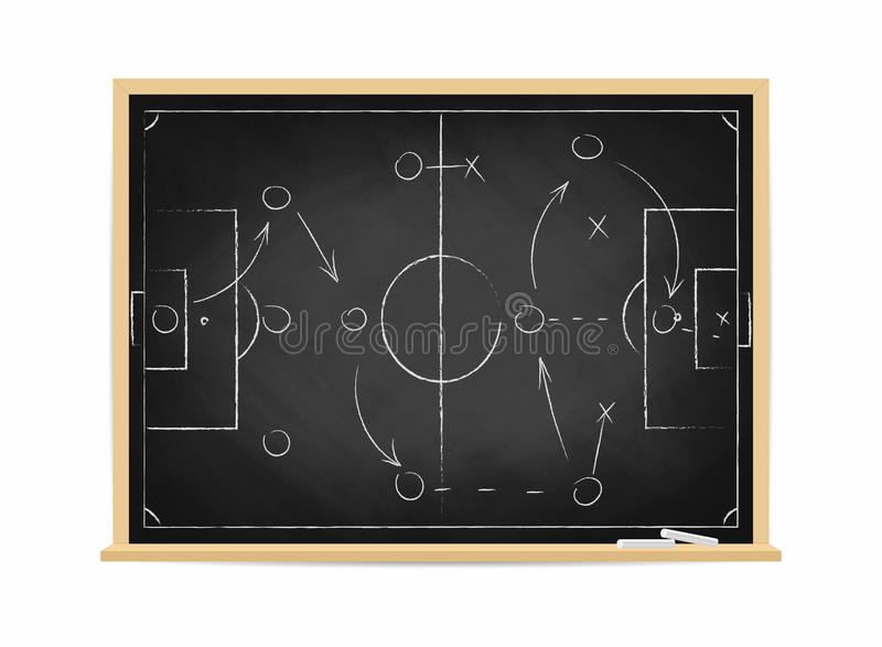 Soccer tactic scheme on chalkboard. Football team strategy for the game. Hand drawn soccer field background vector illustration