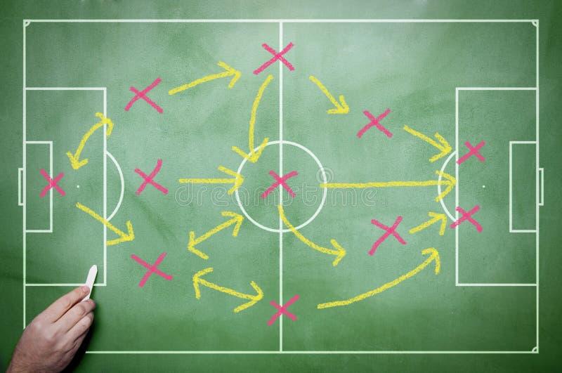 Soccer tactics. On the blackboard stock image