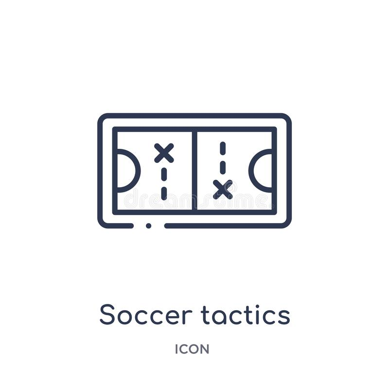 soccer tactics diagram icon from productivity outline collection. Thin line soccer tactics diagram icon isolated on white royalty free illustration