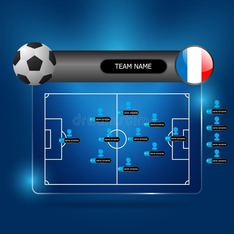 Soccer team line up board. Illustration of soccer team line up board vector royalty free illustration