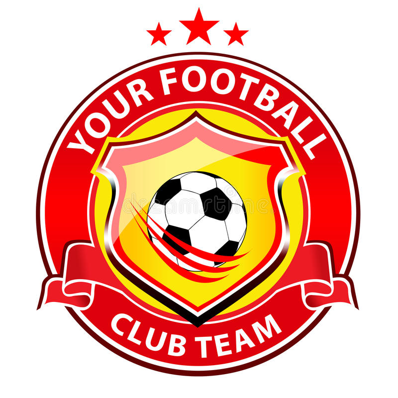 Soccer Team Logo. Vector logo representing a soccer team club with football ball in the middle