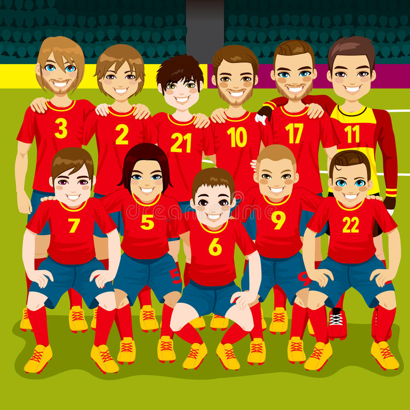 Soccer Team Portrait. Full soccer team posing on soccer field ready to play royalty free illustration