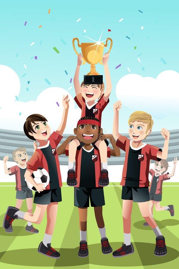 Soccer team winning vector illustration