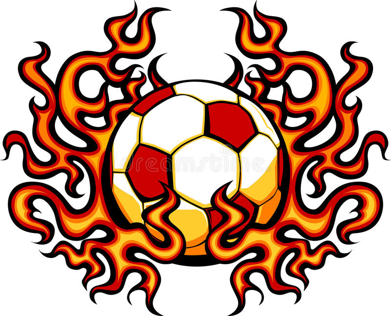 Soccer Template With Flames Image Royalty Free Stock Photography