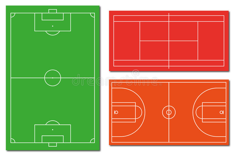 Soccer tennis and basketball fields stock photography