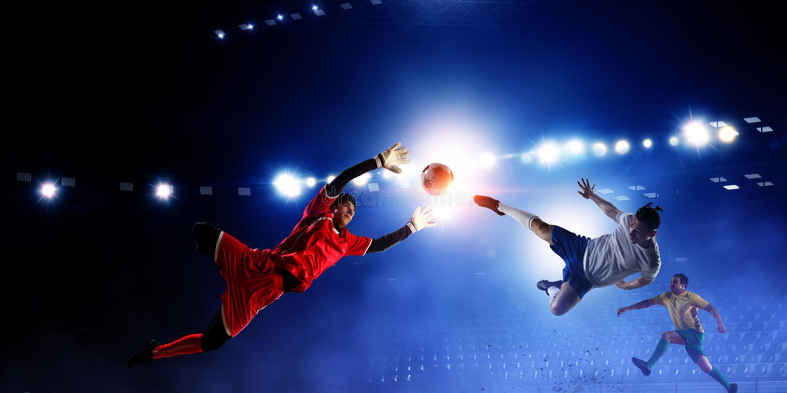 Soccer theme - hottest match moments stock image