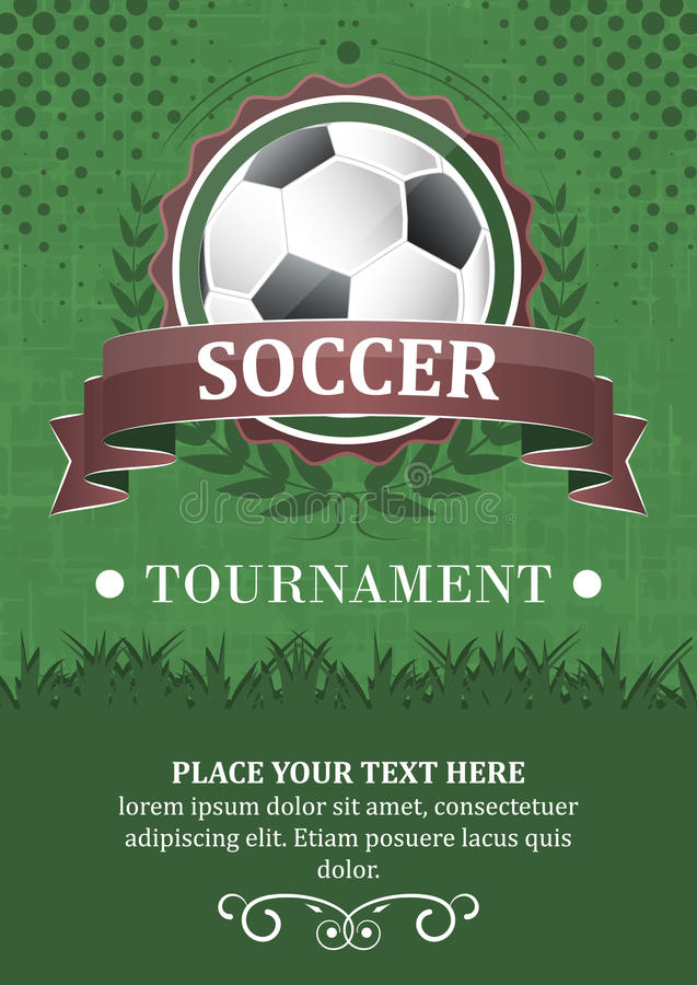 Soccer tournament background. Design with soccer ball, ribbon and laurel wreath vector illustration