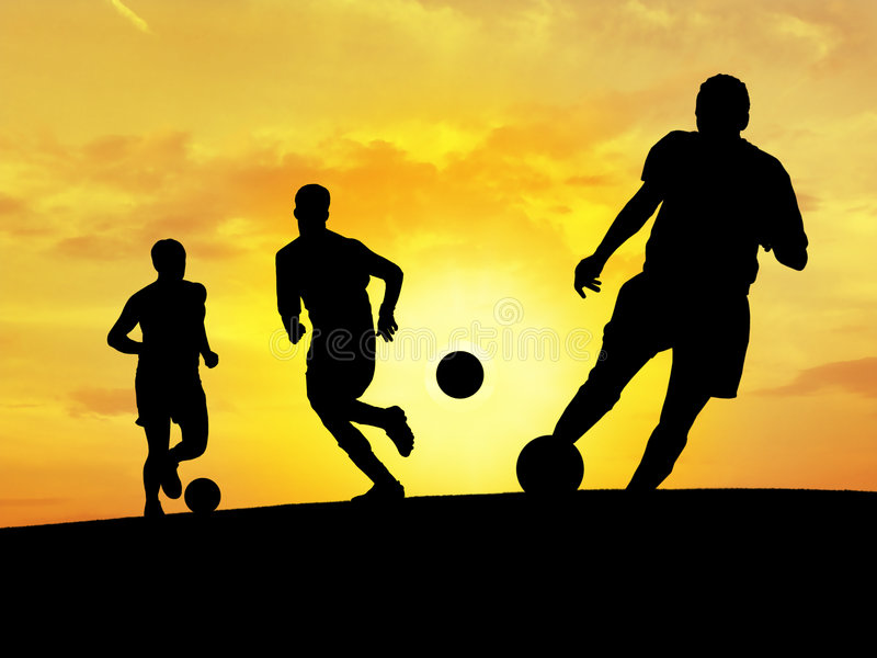 Soccer Training. Football players playing under the sunset stock illustration