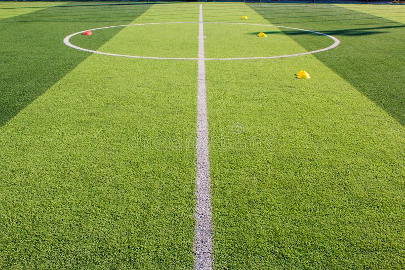 Soccer training Equipment on Artificial turf , Soccer Academy stock image
