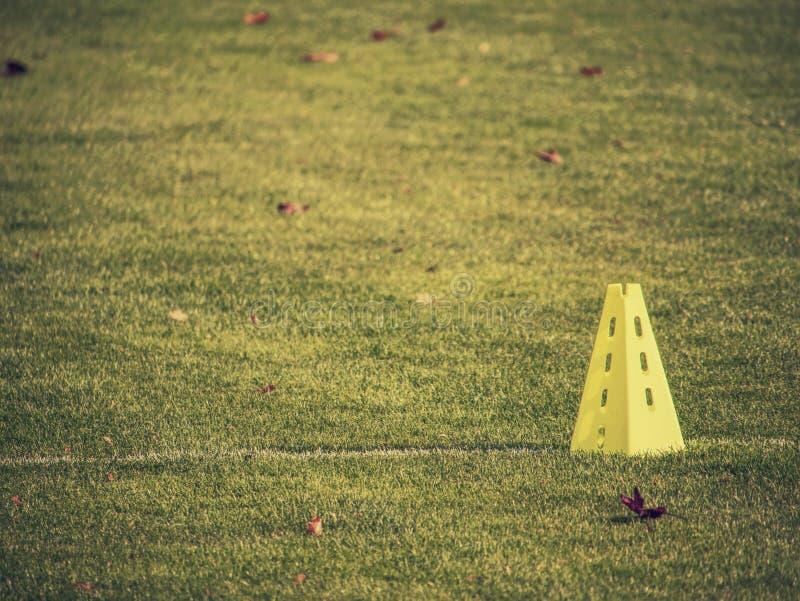 Soccer training equipments for kids.  Soccer slalom drills. To improve football dribbling fast stock image