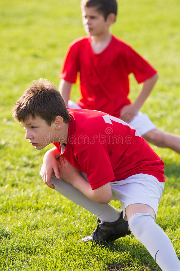 Soccer training for kids. In football field stock photography