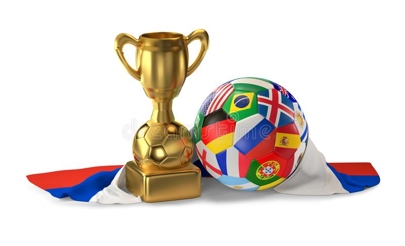 Soccer trophy with soccer ball flags design and flag of Russia 3 vector illustration