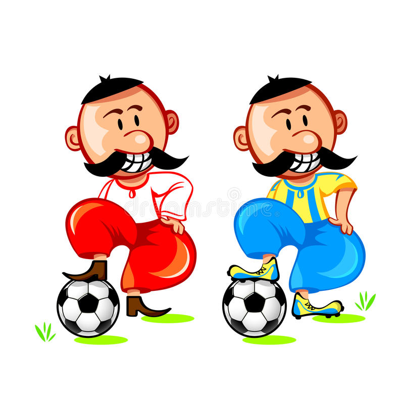 Soccer ukrainian player. Cheerful ukrainian cossack and soccer player in national uniform vector illustration