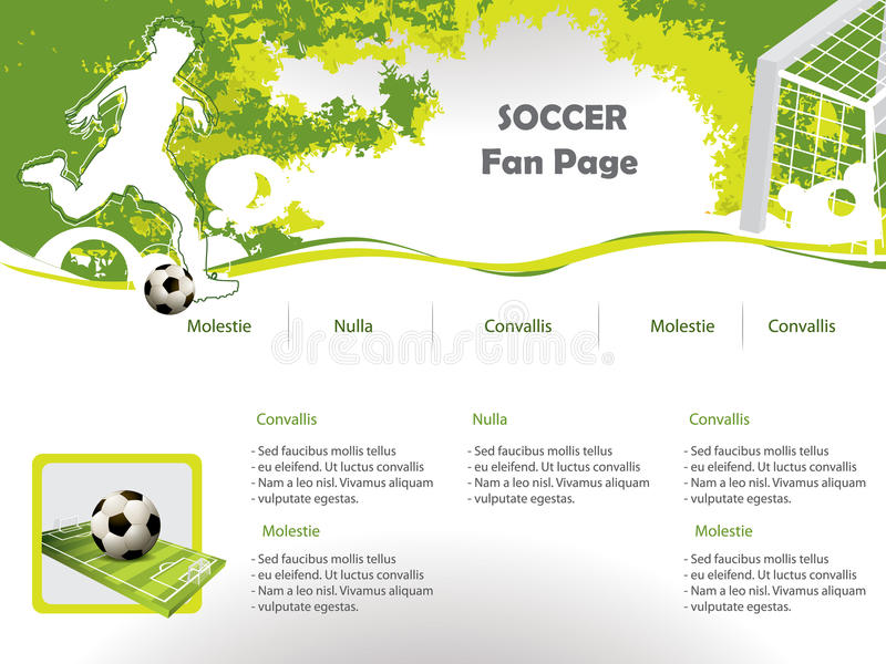 Soccer web site design template. With soccer player and ball vector illustration