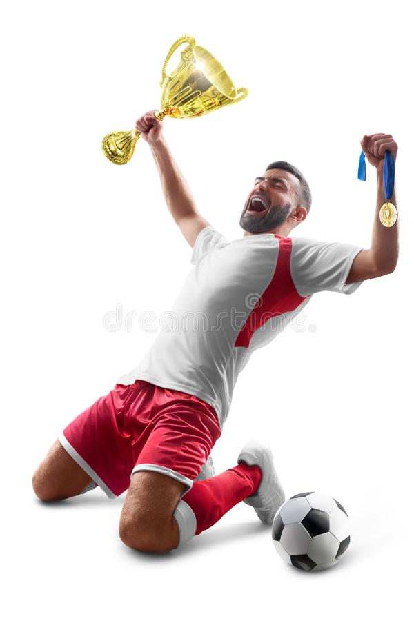 Soccer wins. Professional soccer player celebrates winning the open stadium. Sport. Joy of life. Isolated on white royalty free stock photo
