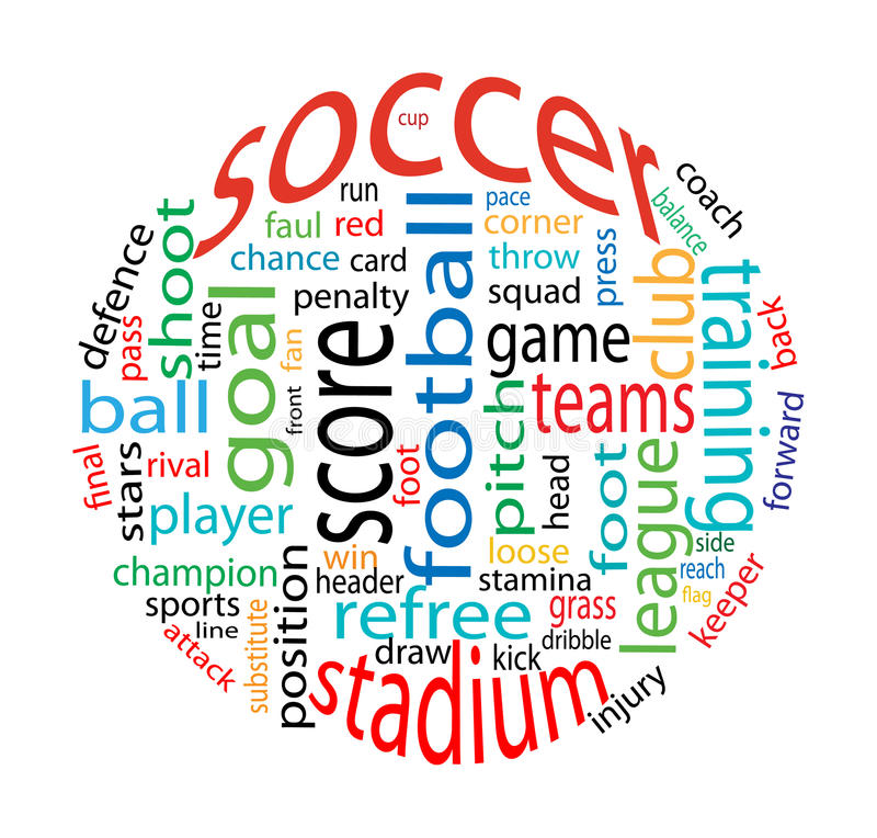 Soccer word cloud stock image