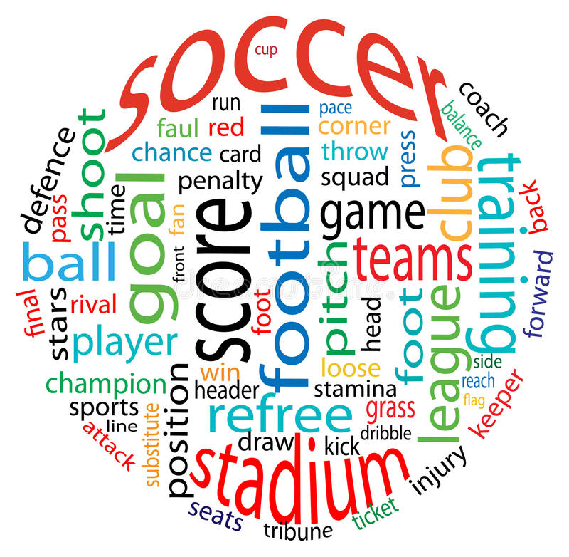 Soccer word cloud. Abstract soccer word cloud in a ball form royalty free illustration