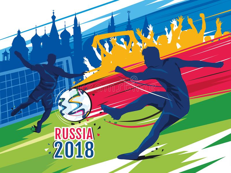 Soccer world cup 2018 in Russia. Color vector illustration. Soccer world cup 2018 in Russia. Player, goalkeeper and funs agaist russian achitecture background stock illustration