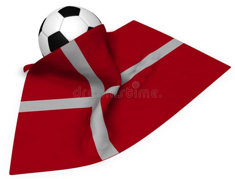 Soccerball και σημαία της Δανίας ελεύθερη απεικόνιση δικαιώματος