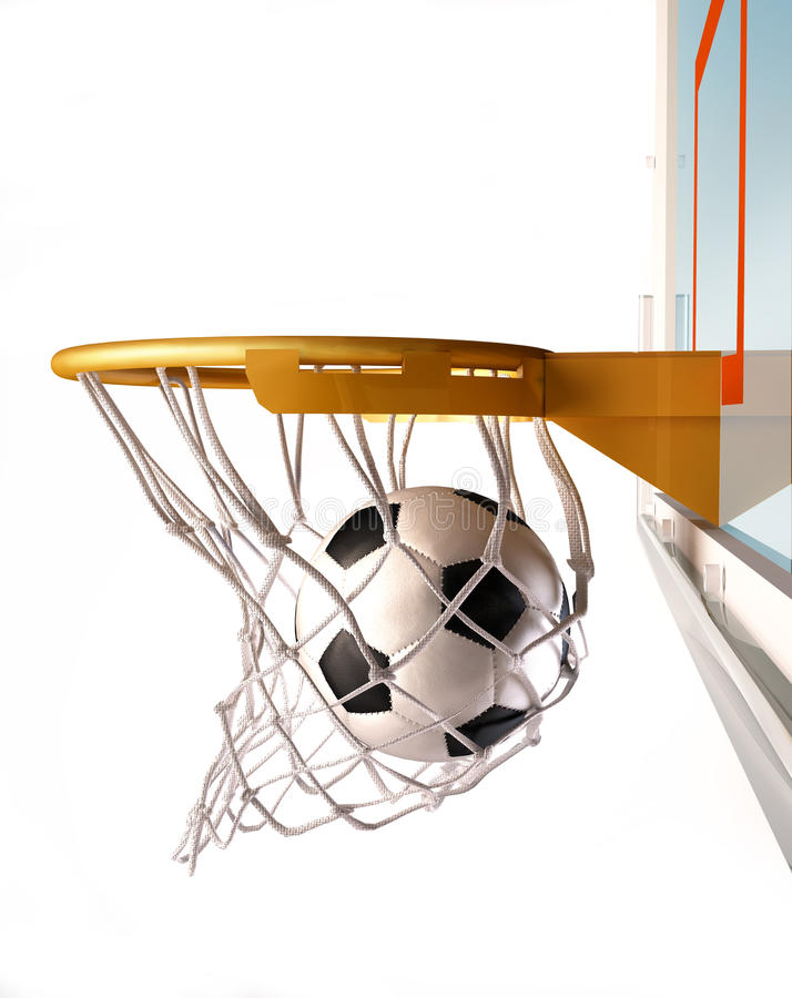 Soccerball centering the basket, close up view. royalty free illustration