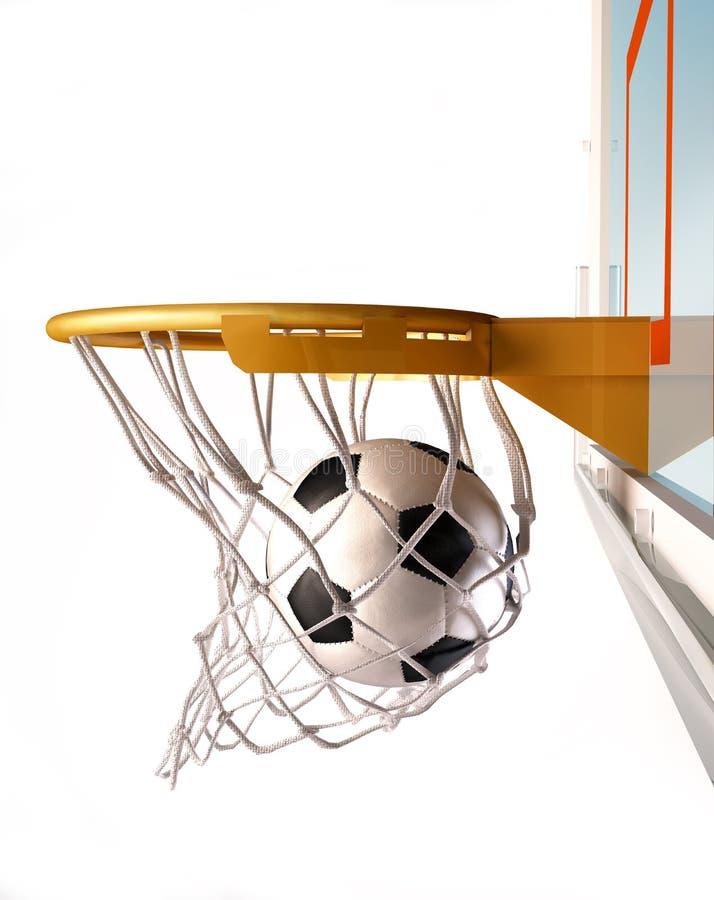 Soccerball die de mand centreren, sluit omhoog mening. royalty-vrije illustratie