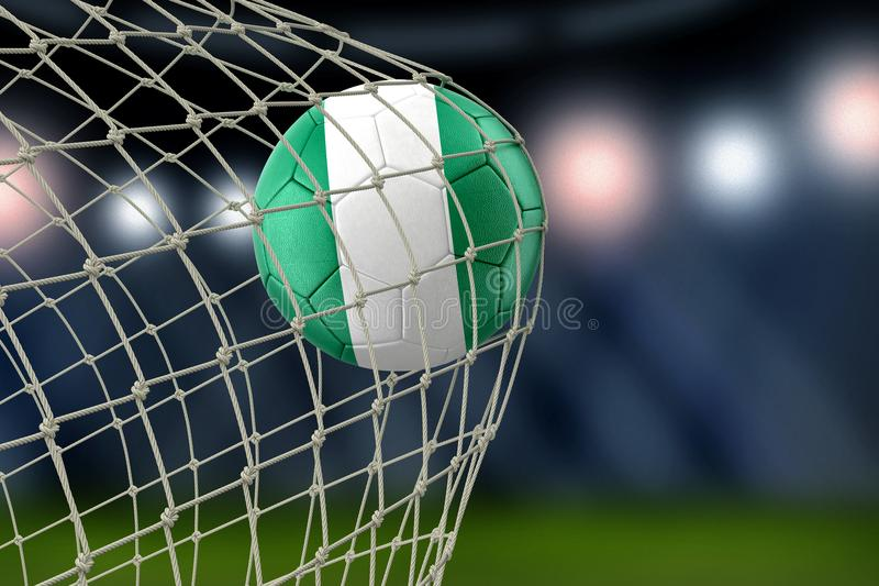 Soccerball nigeriano nella rete illustrazione di stock