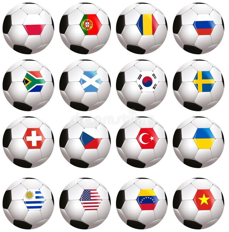 Soccerballs com bandeira de país ilustração do vetor