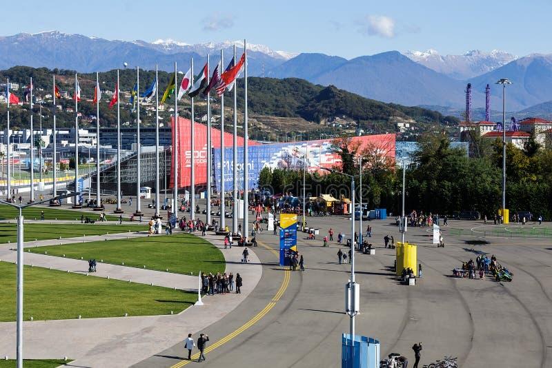 Sochi ολυμπιακό πάρκο Εγκαταστάσεις και έλξη στοκ φωτογραφία