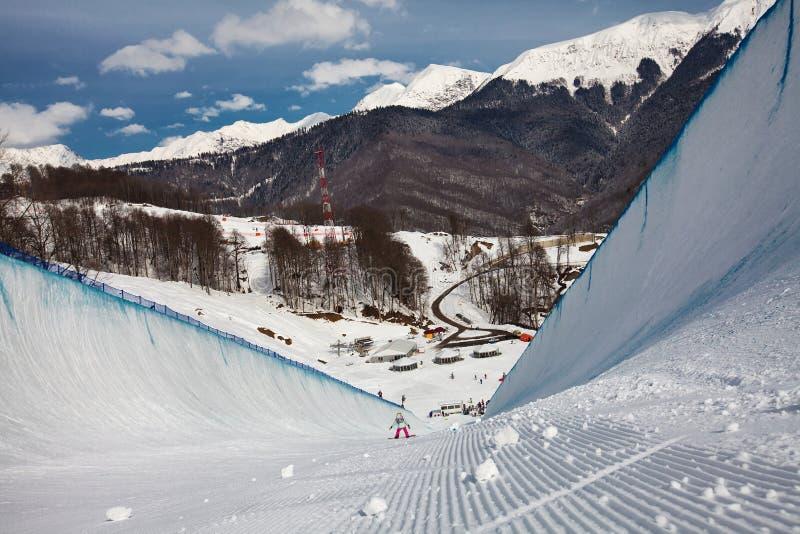 Sochi 2014 - ολυμπιακό πάρκο, Roza Khutor, διαδρομή στοκ εικόνα