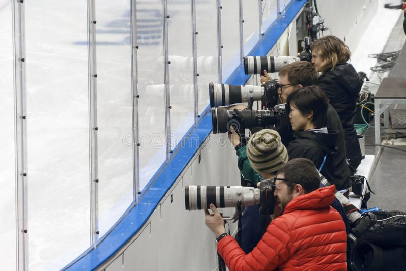 Sochi - Adler, parque olímpico, región de Krasnodar/Federación Rusa - 12 de marzo de 2014 Ensayo de la foto de los deportes imagen de archivo