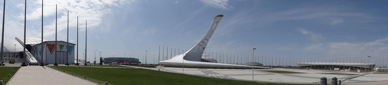 Sochi city. Olympic village. Torch. Panorama. royalty free stock photo