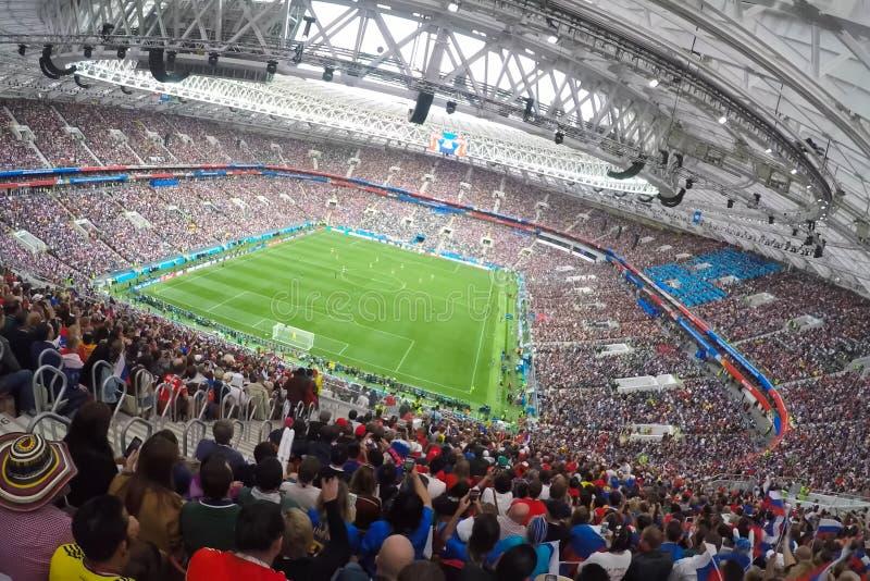 Sochi, el fisht del estadio Las fans llenaron el estadio Partido Portugal contra España fotografía de archivo libre de regalías