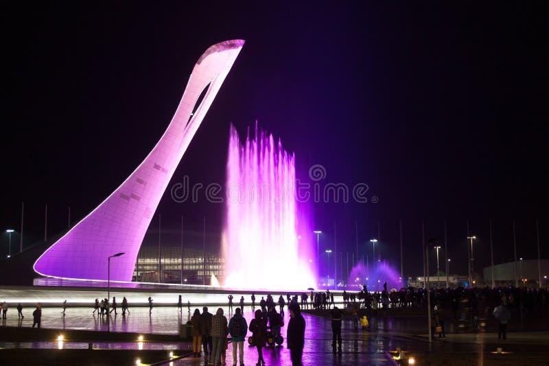 Sochi 2014 olympic fountain stock image