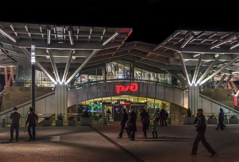 Sochi Olympic Park railway station entrance with neon Russian Railroad Company exterior sign at night stock photo