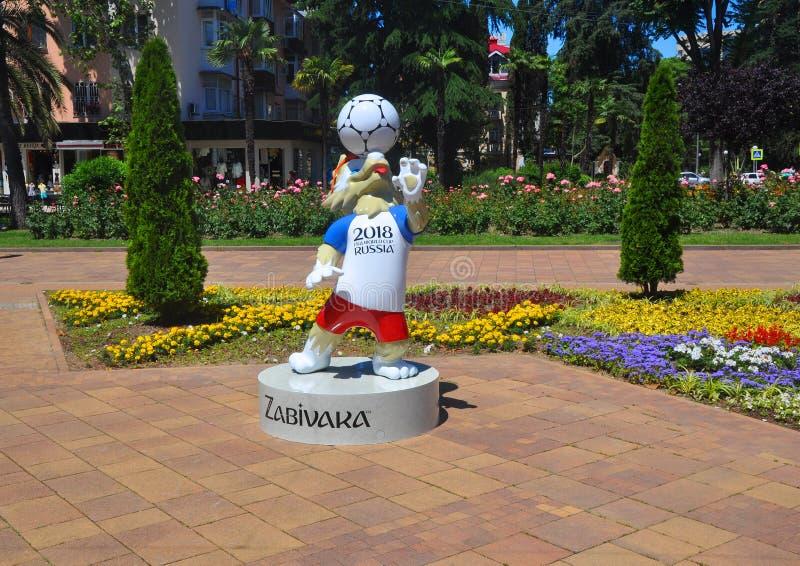 SOCHI ROSJA, CZERWIEC, - 5, 2017: Zabivaka jest maskotką FIFA puchar świata 2018 zdjęcia stock